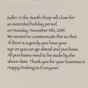 Other - Shop Closing 12 AM, 11-11-19 for Extended Holiday